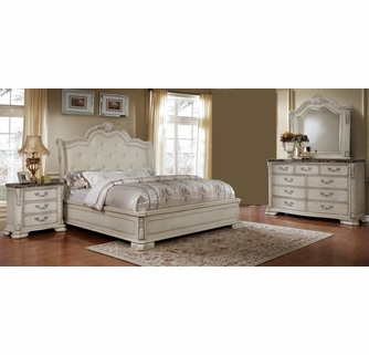 Angie 4 Pc Antique White King Bedroom Set By Mcferran Home Furnishings