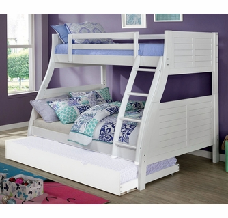 Hoople White Wood Twin Over Full Bunk Bed By Furniture Of America