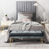 Arabelle 3-Pc Grey Velvet Twin Bed Set with Grey Bench by TOV Furniture