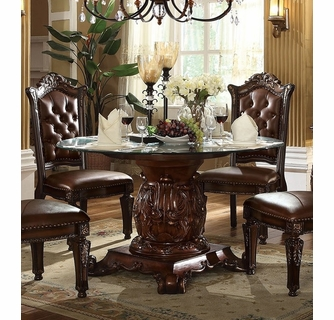 Vendome Cherry Wood Pedestal Dining Table With Glass Top By Acme