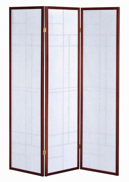 Dexie White Paper/Cherry Wood 3 Panel Folding Screen by Coaster