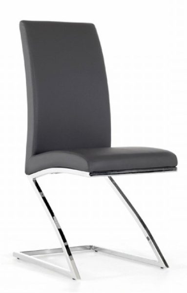 Angora 2 Grey Leatherette/Chrome Metal Side Chairs by VIG Furniture
