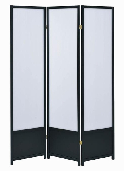Tiggy White Plastic/Black Wood 3 Panel Folding Screen by Coaster