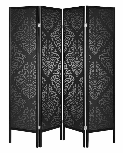 Roxanne Black Damask Plastic/Wood 4 Panel Folding Screen by Coaster