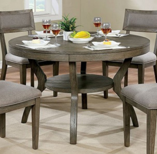 Leeds Gray Wood Round Dining Table By Furniture Of America