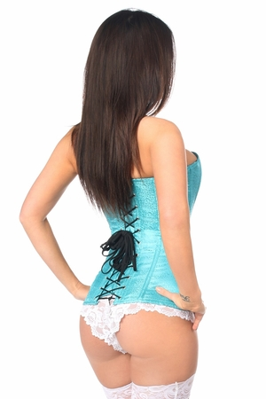Lavish Turquoise Brocade Corset - IN STOCK