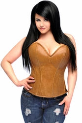 Top Drawer Camel Distressed Faux Leather Steel Boned Corset Top - IN STOCK