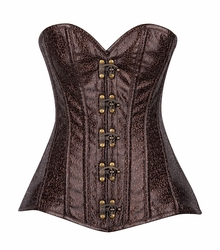 Top Drawer Brown/Gold Faux Leather Steel Boned Corset w/Clasps - IN STOCK