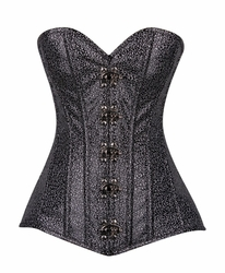 Top Drawer Black/Silver Faux Leather Steel Boned Corset w/Clasps - IN STOCK