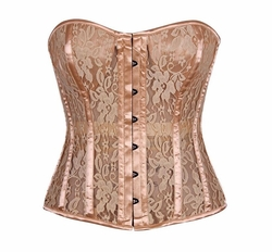 Top Drawer Tan Lace Molded Cup Corset - ON SALE