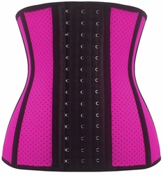 Breathable Hole Pink Steel Boned Latex Shaper Waist Training Corset