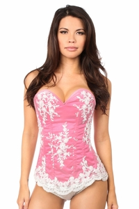 Top Drawer Elegant Fuchsia Embroidered Steel Boned Corset