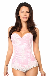 Top Drawer Elegant Lt Pink Embroidered Steel Boned Corset