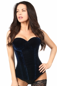 Top Drawer Navy Blue Velvet Underwire Steel Boned Corset