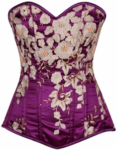 Top Drawer Elegant Plum Floral Embroidered Steel Boned Corset