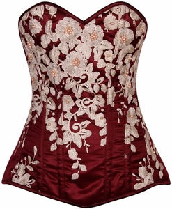 Top Drawer Elegant Wine Floral Embroidered Steel Boned Corset