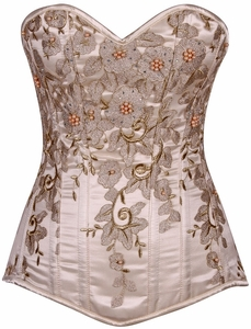 Top Drawer Elegant Ivory Floral Embroidered Steel Boned Corset