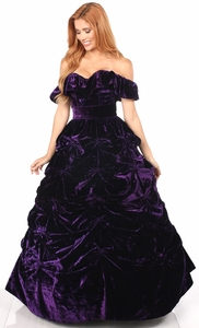3 PC Dark Purple Velvet Corset Dress