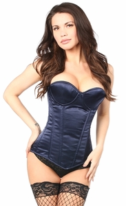 Top Drawer Navy Blue Satin Underwire Steel Boned Corset