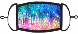 Rainbow/Silver Flip Sequin Fabric Face Mask - Pack of 10
