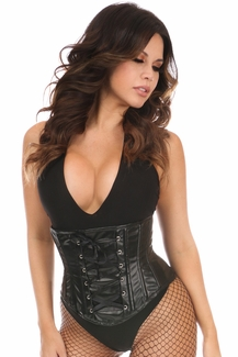 Lavish Wet Look Faux Leather Lace-Up Under Bust Corset - IN STOCK
