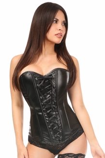 Lavish Wet Look Faux Leather Lace-Up Over Bust Corset - IN STOCK