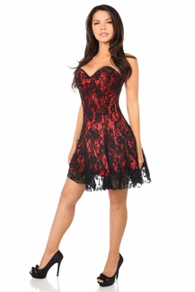 Lavish Red Lace Corset Dress - IN STOCK