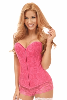 Lavish Pink Lace Overbust Corset w/Zipper - IN STOCK