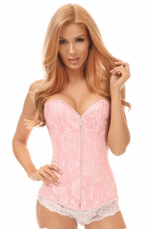 Lavish Lt Pink Lace Overbust Corset w/Zipper - IN STOCK