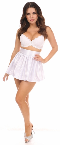 White Satin Skirt - IN STOCK