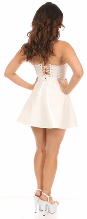 2 PC White Patent Bustier & Skirt Set