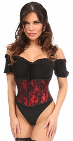 Lavish Red w/Black Lace Overlay Mini Cincher - IN STOCK