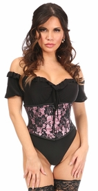 Lavish Pink w/Black Lace Overlay Mini Cincher - IN STOCK