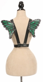 Black/Green Vegan Leather Butterfly Wings - IN STOCK