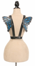 Black/Blue Vegan Leather Butterfly Wings - IN STOCK