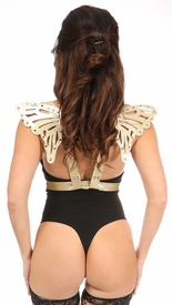 Gold Glitter PVC Body Harness w/Butterfly Wings - IN STOCK