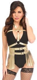 2 PC Gold Glitter PVC Body Harness Set - IN STOCK
