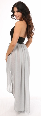 Silver Glitter Hi-Low Skirt