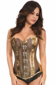 Top Drawer Gold Metallic PVC & Fishnet Steel Boned Corset