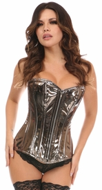 Top Drawer Gunmetal PVC Steel Boned Overbust Corset