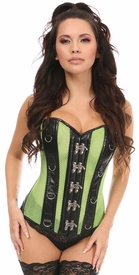 Top Drawer Neon Green/Black Faux Leather & Fishnet Steel Boned Corset