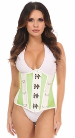 Top Drawer Neon Green/White Faux Leather & Fishnet Steel Boned Under Bust Corset