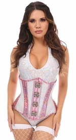 Top Drawer Pink Holo & White Fishnet Steel Boned Under Bust Corset