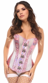 Top Drawer Pink Holo & White Fishnet Steel Boned Over Bust Corset