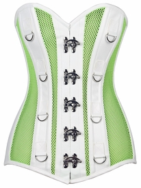 Top Drawer Neon Green/White Faux Leather & Fishnet Steel Boned Corset