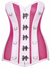 Top Drawer Neon Pink/White Faux Leather & Fishnet Steel Boned Corset