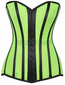 Lavish Neon Green/Black Sheer Mesh Over Bust Corset