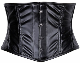 Lavish Black Wet Look Waist Cincher Corset