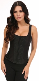 Top Drawer Black Satin & Black Brocade Steel Boned Corset w/Straps
