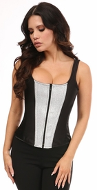 Top Drawer Black Satin & Silver Glitter Steel Boned Corset w/Straps